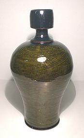 Medieval green & Temmoku Hakeme Bottle Vase