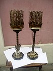 Pr Oskar Bach Style Lamps-Iron-Brass- Marble 1920s