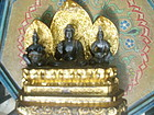 19thc Carved  Buddha Gilt Shrine- 3 Figures