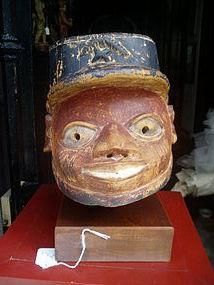African Colonial Helmet Mask Yoruba Carved Wood