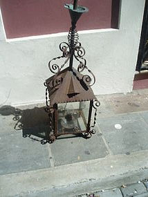19thc French Iron Hanging Lantern