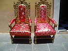 Pr Lge Flemish Carved Armchairs Gilt-ca 1870s