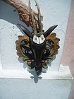 German Black Forest Carved Deer Head-Real Antlers 1900