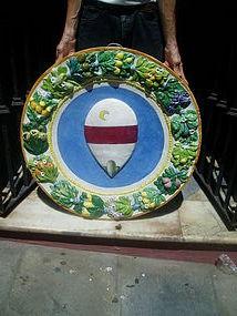 Lge Italian Della Robbia Roundel Crest Ca1900
