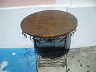 French Deco  Round  Center Table Iron Reed Top