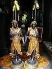 Pr Blackamoor Carved Lamps Art Deco 1920s