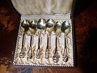 6 Danish Sterling Silver Demitasse Spoons Vermiel