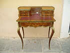 French 19thc Ladies Desk Inlaid Louis XVth Style