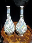 Pr 18thc Persian Qjar Long Neck Vases