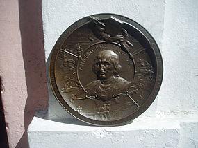 Bronze Rondel C. Columbus Exhibit 1893 Sgnd