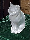 Lalique Crystal Cat-Sitting-Perfect-Signed