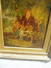 Dutch 19thc Oil Painting on Wood with Dog