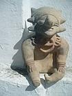Pre Columbian Clay Seated Figure of Peru