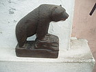 Carved Walnut Bear American Signed ca 1900