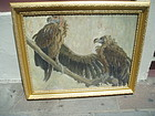 Turkey Vultures Oil Painting on Board 20thc Sgnd