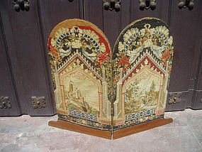 19thc  Scottish Petipoint Table Screen Two Panel