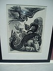 Powerful Mexican Lithograph Sgnd Jesus Escobedo 1940s
