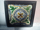 Four Framed 16thc Spanish Tiles