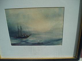 American Watercolor Sailing In Caribbean Sgnd 1940s