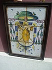 18thc Spanish Tile Picture of Bishop Crest