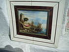 19thc French Miniature Painting on Ivory-Port Scene