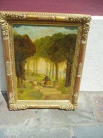 19thc Irish Oil Painting--Damsel In Garden 1860s