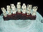Seven Japanese Ivory Carved Deities Antique Sgnd
