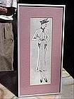 American Fashion Ink Drawing-Lady w/Hat-30s