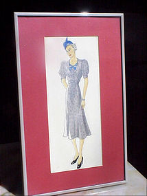 American Fashion Ink/WC Drawing-Blue Hat-30s