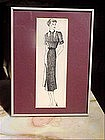 American Fashion Ink Drawing-Halter-30s