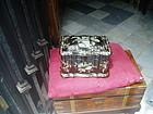 Mid 19thc English Papier Mache Inlaid MOP Tea Caddy