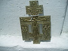 19thc Bronze Russian Orthodox Cross/Crucifix