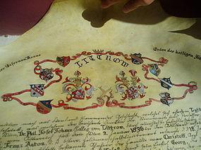 Painted Vellum Genealogy Tree Austrian Aristocrats