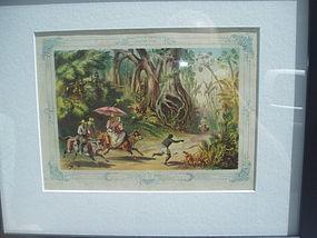 19thc Cuban Colored Lithograph ca 1860s-Jungle Romp