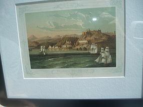 19thc Cuban Lithograph Seaside Old Santiago-ca 1860s