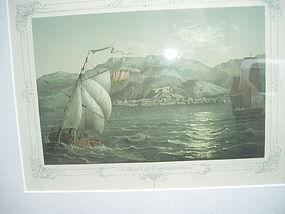19thc Cuban Lithograph of Vista of Baracoa ca   1860s