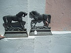 Pr Late 19thc Cast Iron Door Stops Horses