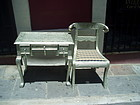 Anglo Indian Metal Clad Desk & Chair Elephant Motif