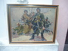 Soviet Russian Oil painting Freeing Odessa 1948 Sgnd