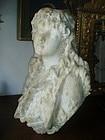 Carved Large Female Marble Bust Sgnd Dtd 1885
