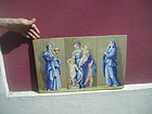 19thc French Painted Lge Tile Faith Hope Charity Sgnd