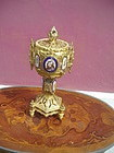 19thc Gilt Bronze & Porcelain Neo Gothic Chalice Box
