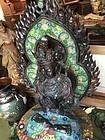 19thc Lge Chinese Enamel Buddha with Stones