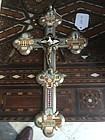 Italian Grand Tour Macro Mosiac Crucifix 1900