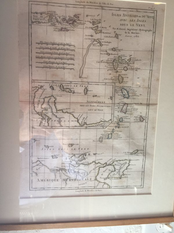 18thc French Engraved Map Antilles Islands With Puerto Rico Sgnd