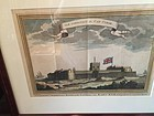 Dutch 18thc Hand Colored Engraving of Fort in Gold Coast  1727