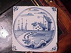 Dutch Delft Tile 18thc-Blue and White