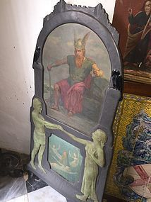 German OIL Painting Wagnerian Fantasy ca 1900