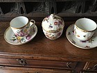 19thc German KPM Porcelain Two Cups Saucers and Sugar Bowl