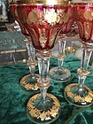 Four Gorgeous Moser Cut to Clear Ruby Glass Goblets 1910